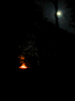 Camp fire moon